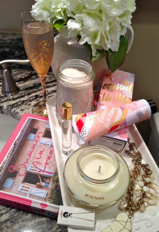 Spanista In Touch Tableau-Endless Summer Home Spa Experience. Anthropolopgie   Coconut Milk Mango Skin Cream, Bath Crystals, Fragrance, Travel Size and Candle. All by Illume, Go be lovely. Summer